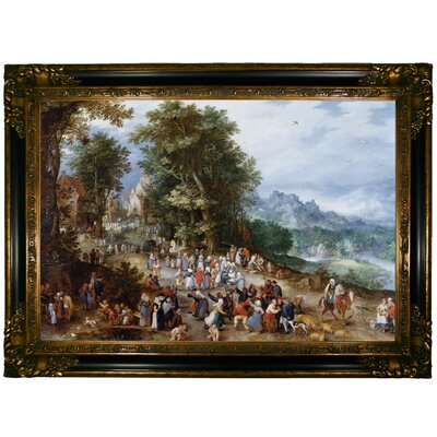 'Flemish Fair 1600' Framed Oil Painting Print on Canvas Format: Dark Gold Framed, Size: 24.25