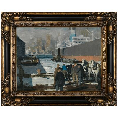 'Men of the Docks 1912' Framed Oil Painting Print on Canvas Format: Peru Framed, Size: 17.25