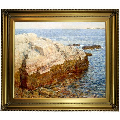 'Cliff Rock Appledore 1903' Framed Oil Painting Print on Canvas Format: Light Bronze Frame, Size: 26'' H x 30'' W x 1.5'' D