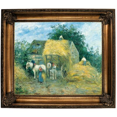 'The Hay Cart; Montfoucault 1879' by Camille Pissarro Framed Oil Painting Print on Canvas Format: Bronze Framed, Size: 26.25