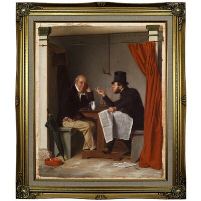'Politics in an Oyster House 1848' Framed Oil Painting Print on Canvas Format: Black Gold Framed, Size: 29.25
