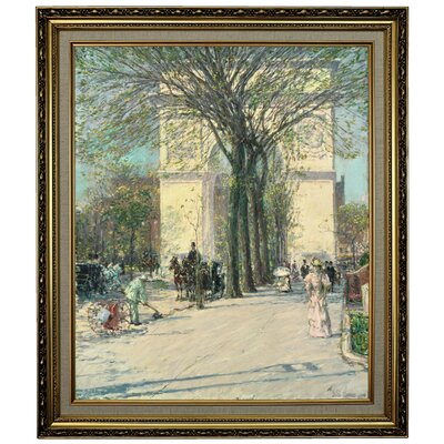 'Washington Arch, Spring 1890' Framed Oil Painting Print on Canvas Format: Dark Copper Framed, Size: 25.25'' H x 21.25'' W x 1.5'' D