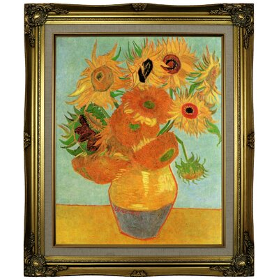 'Still Life Vase with Twelve Sunflowers' by Vincent van Gogh Framed Oil Painting Print on Canvas Format: Brown/Gold Framed, Size: 25.25