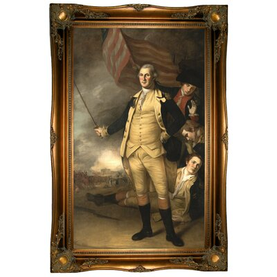 'George Washington at the Battle of Princeton 1784' Framed Oil Painting Print on Canvas Format: Ornate Gold Framed, Size: 37.5