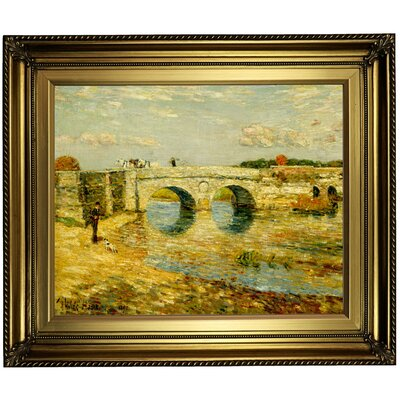 'Bridge Over the Stour' Framed Oil Painting Print on Canvas Format: Dark Bronze Framed, Size: 22'' H x 26'' W x 1.5'' D