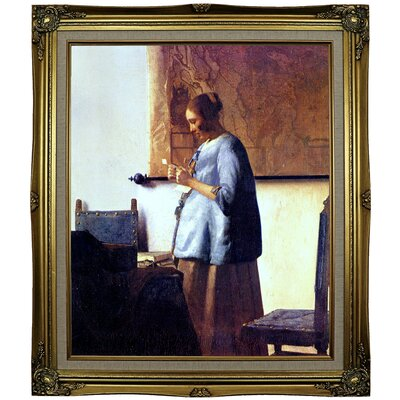 'Women in Blue Reading a Letter' by Johannes Vermeer Framed Oil Painting Print on Canvas Format: Black Gold Framed, Size: 29.25