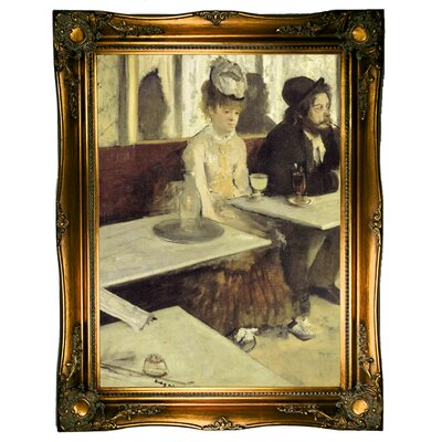 'In a Cafe 1873' by Edgar Degas Framed Oil Painting Print on Canvas Format: Ornate gold Framed, Size: 31.5