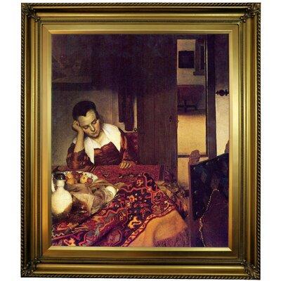 'A women asleep' by Johannes Vermeer Framed Print on Canvas Format: Gold Frame, Size: 30