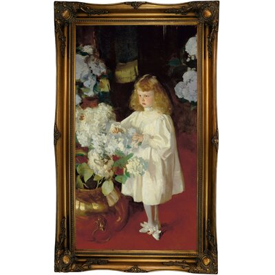 'Helen Sears 1895' by John Singer Sargent Framed Oil Painting Print on Canvas Format: Old Gold Framed, Size: 40.5