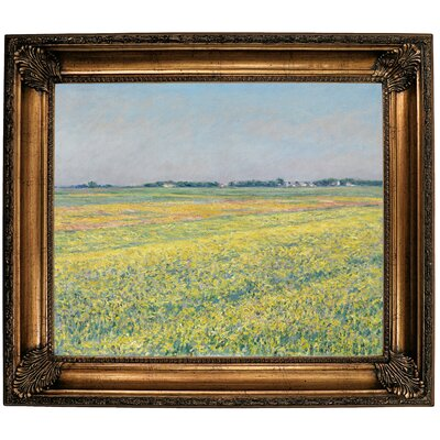 'The Plain of Gennevilliers, Yellow Fields 1884' Framed Oil Painting Print on Canvas in Gold Format: Bronze Framed, Size: 26.25