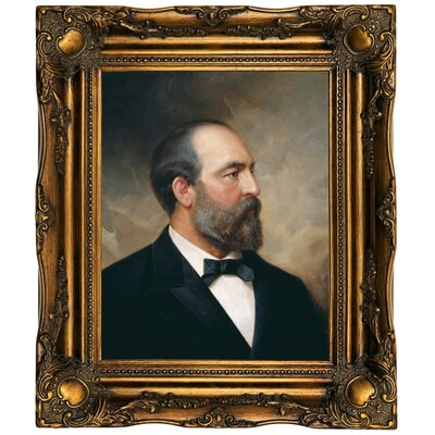 'Portrait of James Garfield; 20th President of the United States 1881' Framed Oil Painting Print on Canvas Format: Dark Gold Framed, Size: 19.5