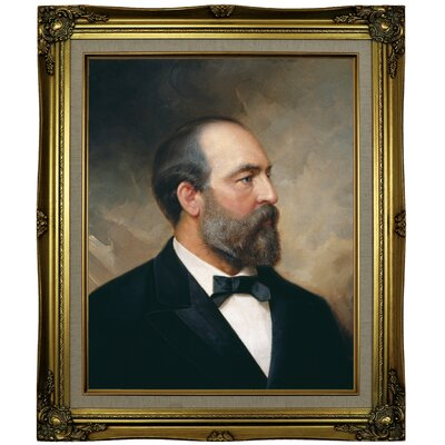 'Portrait of James Garfield; 20th President of the United States 1881' Framed Oil Painting Print on Canvas Format: Brown/Gold Framed, Size: 25.25