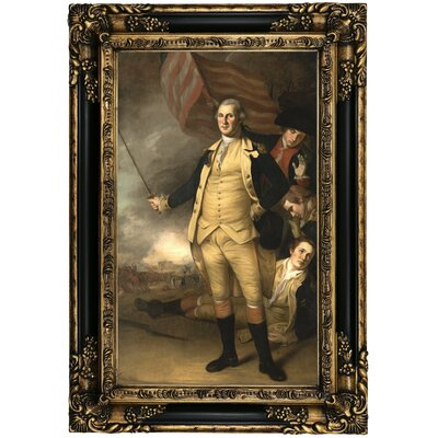 'George Washington at the Battle of Princeton 1784' Framed Oil Painting Print on Canvas Format: Black Gold Framed, Size: 25.25