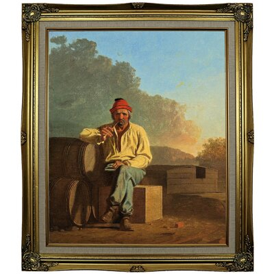 'Mississippi Boatman 1850' Framed Oil Painting Print on Canvas Format: Black Gold Framed, Size: 29.25