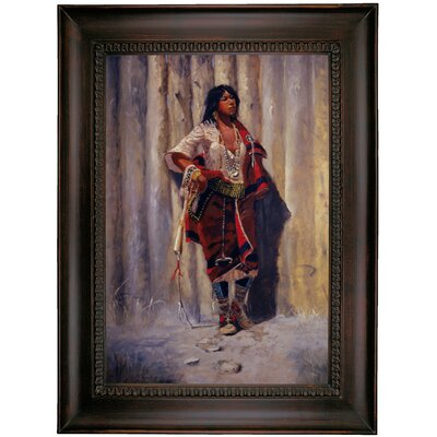 'Indian Maid at Stockade' Framed Oil Painting Print on Canvas Format: Charcoal Framed, Size: 35