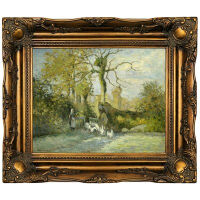'The Goose Girl at Montfoucault (White Frost) 1875' by Camille Pissarro Framed Oil Painting Print on Canvas Format: Dark Gold Framed, Size: 16.5