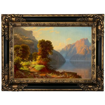 'A View of a Lake in the Mountains' Framed Print on Canvas Format: Black/Gold Frame, Size: 17.25