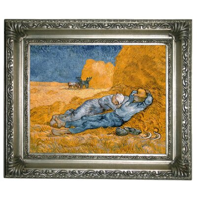 'Noon - Rest from Work (after Millet)' by Vincent van Gogh Framed Oil Painting Print on Canvas Format: Silver Framed, Size: 11