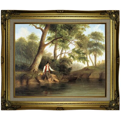 'Man Fishing 1848' Framed Oil Painting Print on Canvas Format: Antique Gold Framed, Size: 21.25