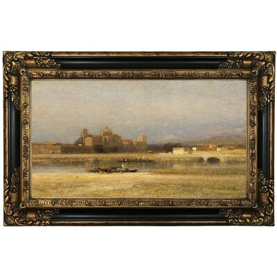 'On the Viga; Outskirts of the City of Mexico 1892' Framed Oil Painting Print on Canvas Format: Black/Gold Framed, Size: 17.25