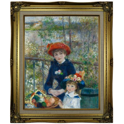 'Two Sisters (On the Terrace) 1881' by Pierre-Auguste Renoir Framed Oil Painting Print on Cavas Format: Brown/Gold Framed, Size: 25.25