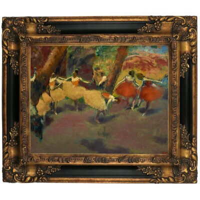 'Before the Performance 1896' by Edgar Degas Framed Print on Canvas Format: Black/Gold Frame, Size: 16.25