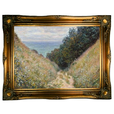 'Road at La Cavee Pourville 1882' by Claude Monet  Framed Oil Painting Print on Canvas Format: Ornate gold Framed, Size: 24.5