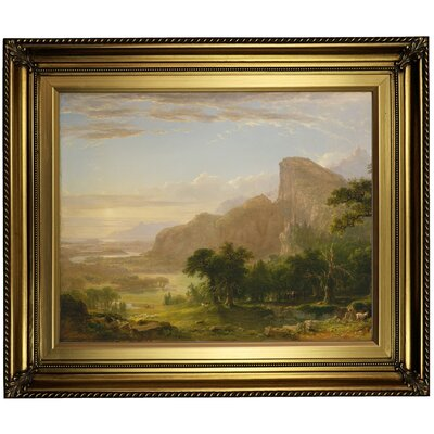 'Landscape Scene from Thanatopsis 1850' Framed Oil Painting Print on Canvas Format: Gold Framed, Size: 22