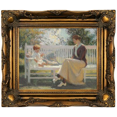 'Eleanor and Benny 1916' Framed Oil Painting Print on Canvas Format: Dark Gold Framed, Size: 16.5