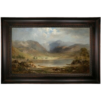 'Loch Long 1867' Framed Oil Painting Print on Canvas Format: Dark Brown Framed, Size: 26