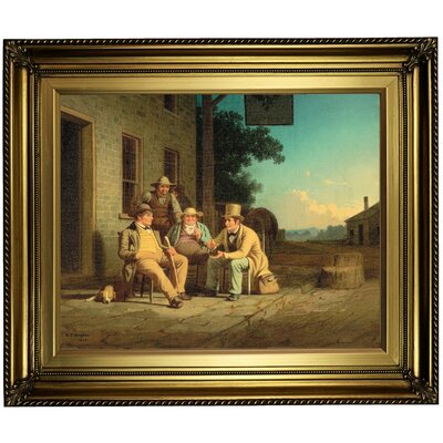 'Canvassing for a Vote 1852' Framed Oil Painting Print on Canvas Format: Dark Yellow Framed, Size: 22'' H x 26'' W x 1.5'' D