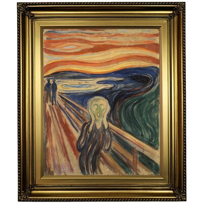 'The Scream 1910' Framed Oil Painting Print on Canvas in Gold Format: Light Gold Framed, Size: 26