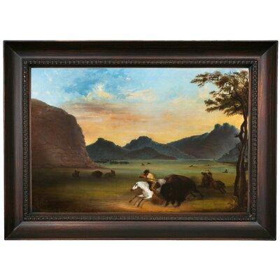 'Buffalo Hunt 1839' Framed Oil Painting Print on Canvas Format: Dark Brown Framed, Size: 15.5'' H x 21.5'' W x 1.5'' D