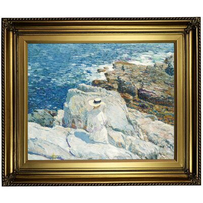 'The South Ledges, Appledore 1913' Framed Oil Painting Print on Canvas in Gold Format: Light Gold Framed, Size: 22