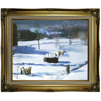 'Blue Snow, The Battery 1910' Framed Oil Painting Print on Canvas Format: Brown/Gold Framed, Size: 21.25'' H x 25.25'' W x 1.5'' D