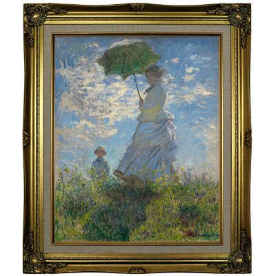 'On the Rock Cliff; Madame Monet and Her Son Jean' Framed Oil Painting Print on Canvas Format: Brown/Gold Framed, Size: 25.25