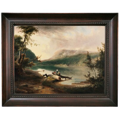 'Delaware Water Gap 1827' Framed Oil Painting Print on Canvas Format: Dark Gray Framed, Size: 15.5'' H x 19.5'' W x 1.5'' D