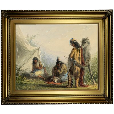 'Indian Courtship 1858' Framed Oil Painting Print on Canvas Format: Light Gold Framed, Size: 22