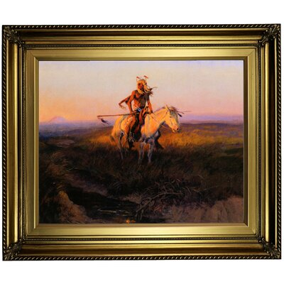 'The Scout' Framed Oil Painting Print on Canvas in Gold Format: Light Gold Framed, Size: 22