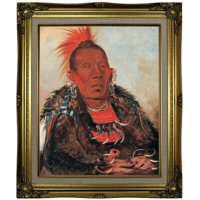 'Wah-ro-noe-sah, the Surrounder, Chief of the Tribe 1832' Framed Oil Painting Print on Canvas Format: Light Brown Framed, Size: 25.25'' H x 21.25'' W x 1.5'' D
