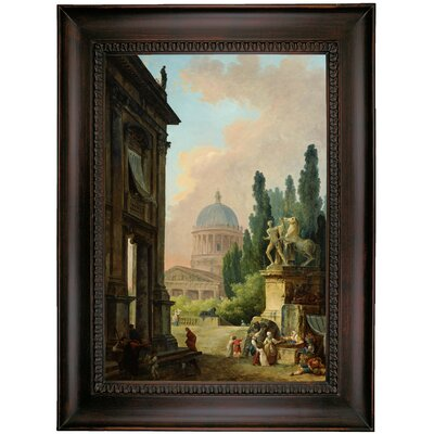 'Imaginary View of Rome with the Horse-Tamer of the Monte Cavallo and a Church 1786' Framed Oil Painting Print on Canvas Format: Charcoal Framed, Size: 35