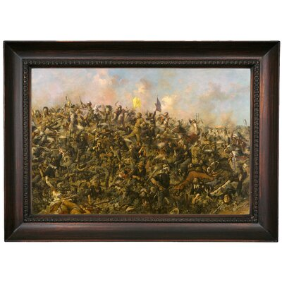 'Custers Last Stand 1899' Framed Oil Painting Print on Canvas Format: Chocolate Framed, Size: 15.5'' H x 21.5'' W x 1.5'' D