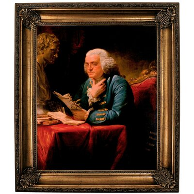 'Benjamin Franklin 1767' Framed Print on Canvas Format: Gold Frame, Size: 25.25