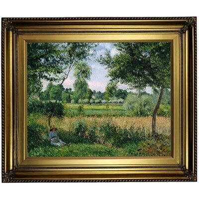 'Morning Sunlight Effect; Eragny 1899' by Camille Pissarro Framed Oil Painting Print on Canvas Format: Light Gold Framed, Size: 22