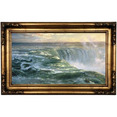 'Niagara Falls 1866' Framed Oil Painting Print on Canvas Format: Antique Gold Framed, Size: 16.5
