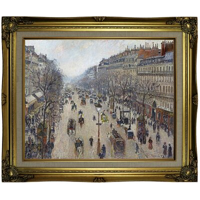 'Boulevard Montmartre, morning, cloudy weather 1897' by Camille Pissarro Framed Oil Painting Print on Canvas Format: Light Brown Framed, Size: 21.25'' H x 25.25'' W x 1.5'' D