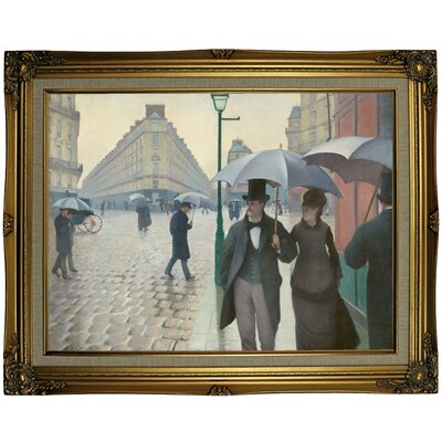 'Paris Street in Rainy Weather 1877' Framed Oil Painting Print on Canvas Format: Gold Framed, Size: 23.25