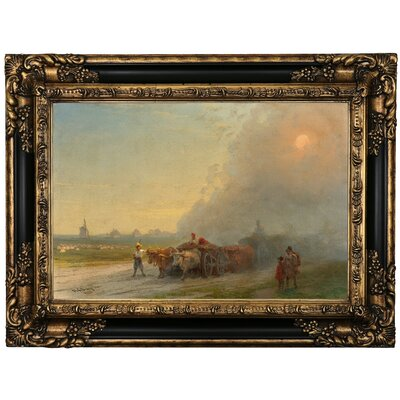 'Ox-carts in the Ukrainian steppe 1888' Framed Oil Painting Print on Canvas Format: Black Framed, Size: 17.25