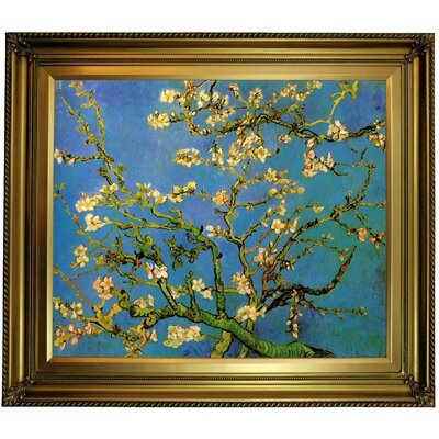 'Blossoming Almond Tree' by Vincent van Gogh Framed Oil Painting Print on Canvas Format: Dark Gold Framed, Size: 26'' H x 30'' W x 1.5'' D
