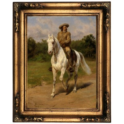 'Col William F.Cody Buffalo Bill 1889' Framed Oil Painting Print on Canvas Format: Chocolate Framed, Size: 26'' H x 22'' W x 1.5'' D